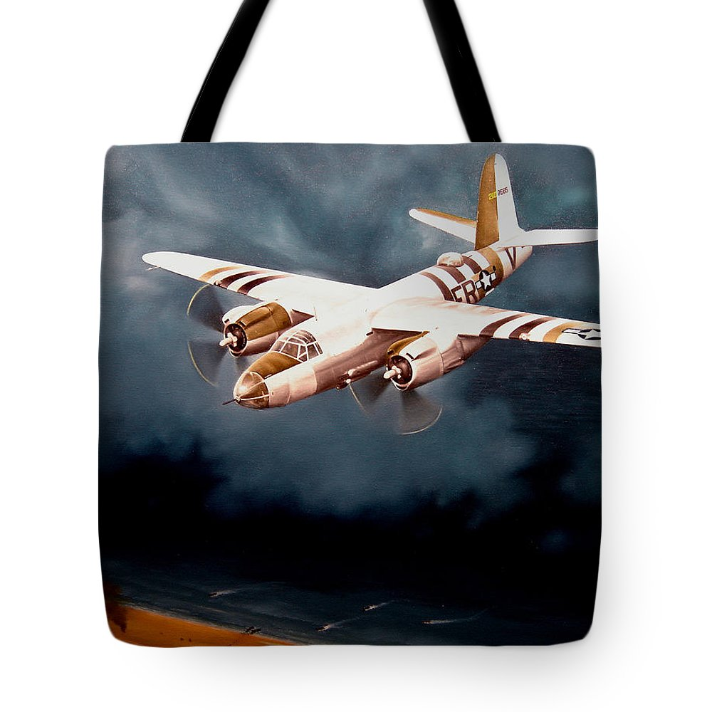Military Tote Bag featuring the painting D-day Support by Marc Stewart