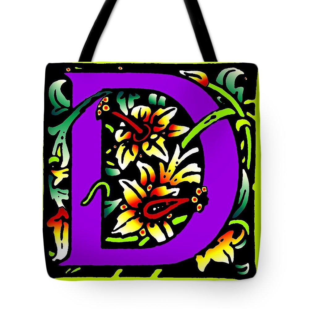 Alphabet Tote Bag featuring the digital art D In Purple by Kathleen Sepulveda