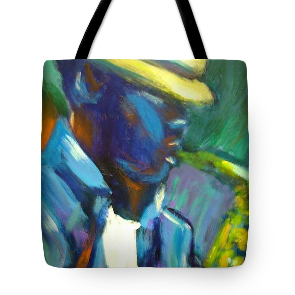 Sax Player Tote Bag featuring the painting D by Jan Gilmore