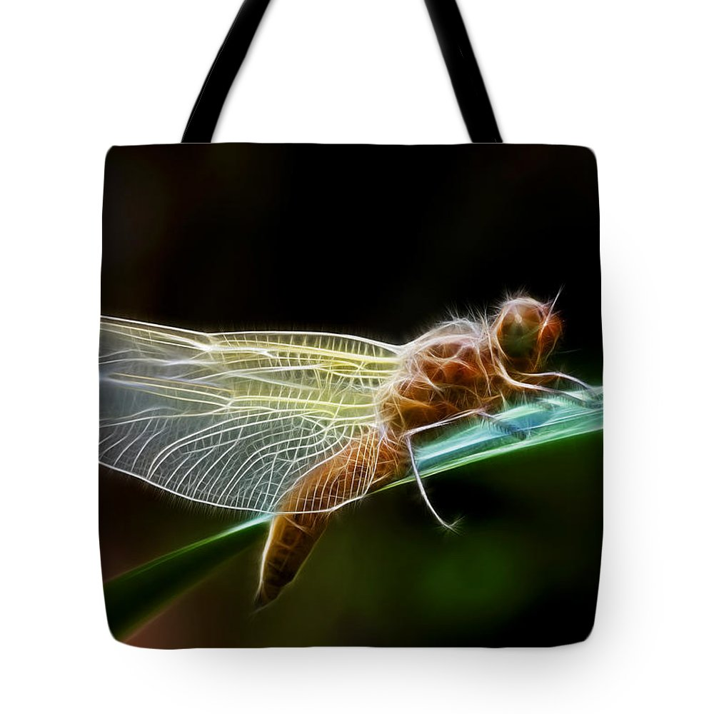 Dragonfly Tote Bag featuring the photograph D R A G O N F L Y by Thomas Herzog