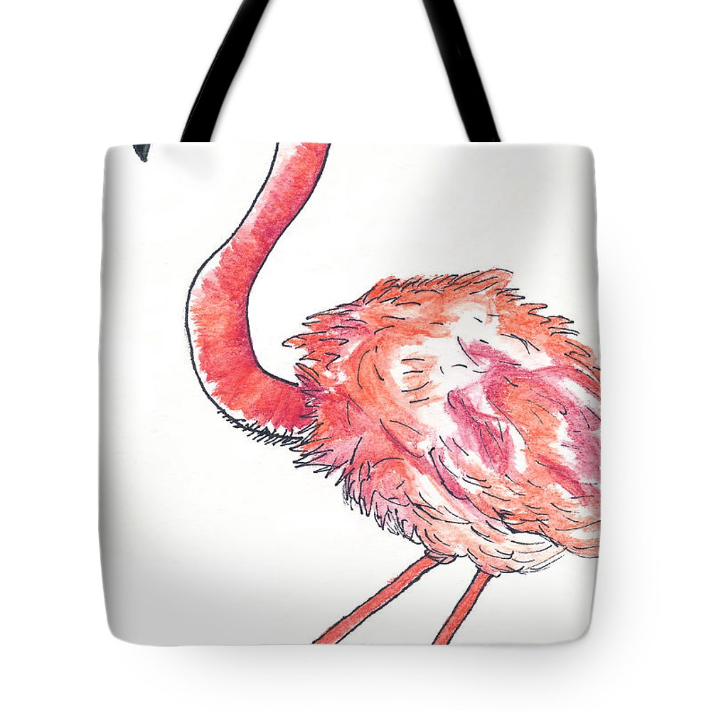 Watercolor Drawing Tote Bag featuring the drawing Da Flamingo by Michael Mooney