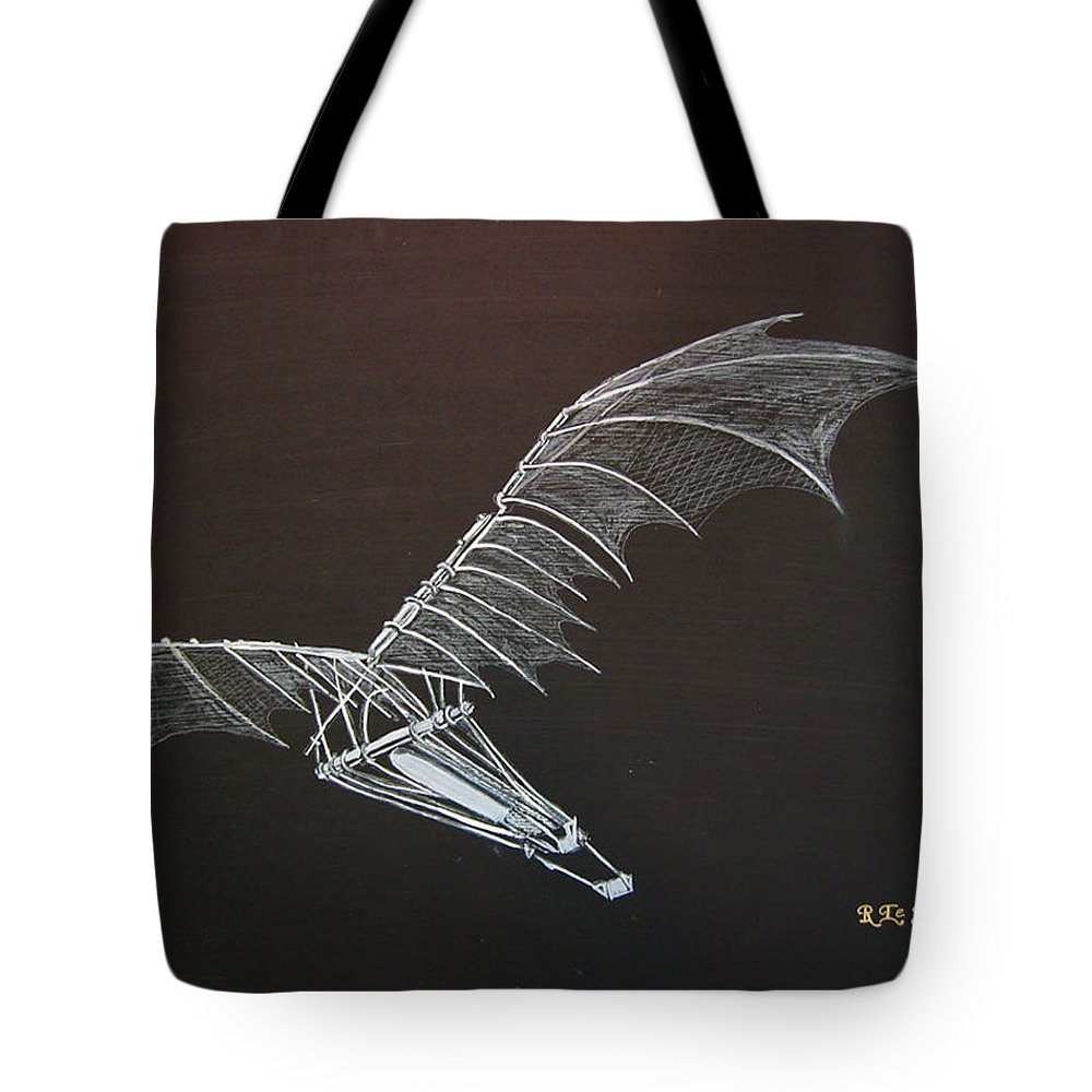 Flying Tote Bag featuring the painting Da Vinci Flying Machine by Richard Le Page