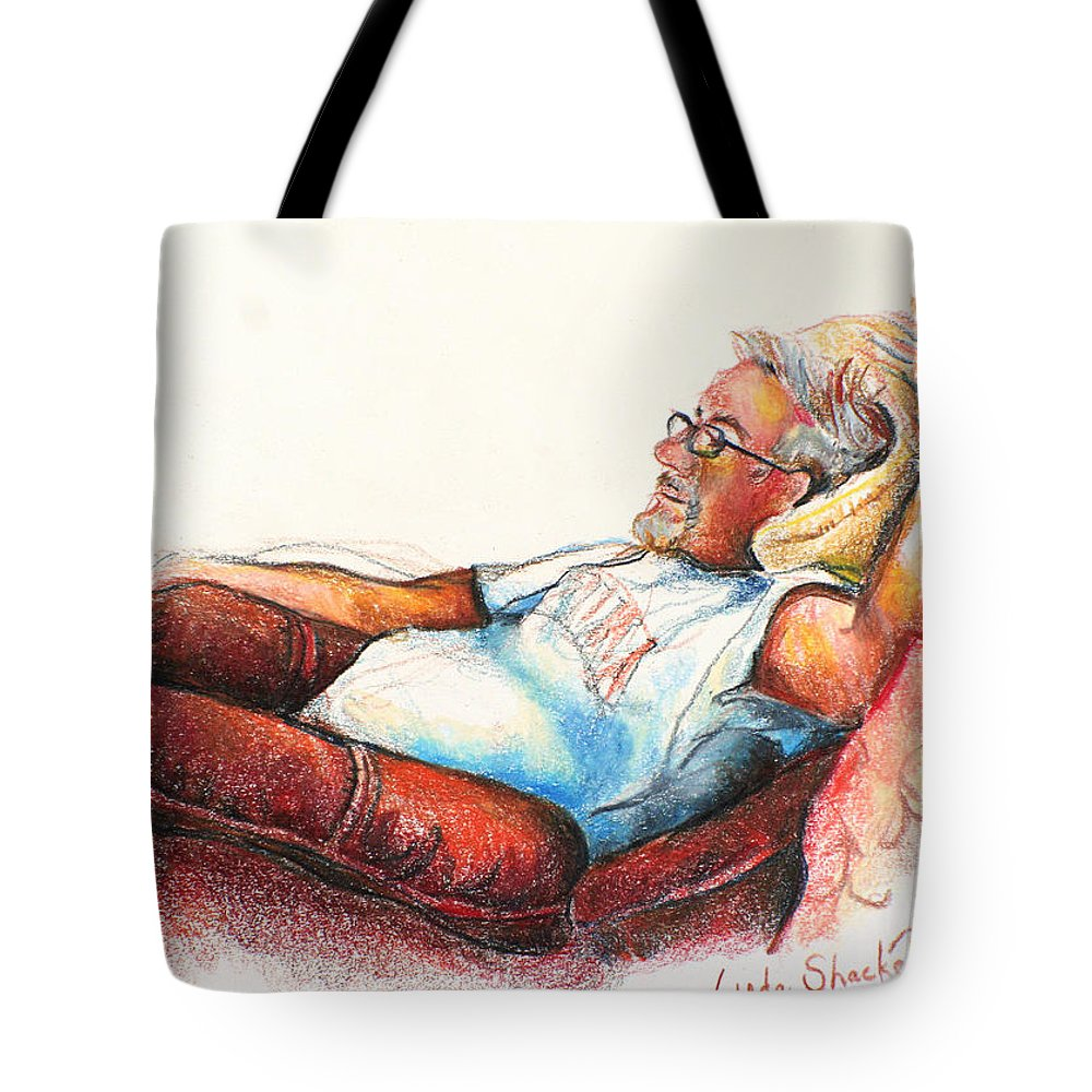 Pencil Tote Bag featuring the drawing Daddy And Molly by Linda Shackelford
