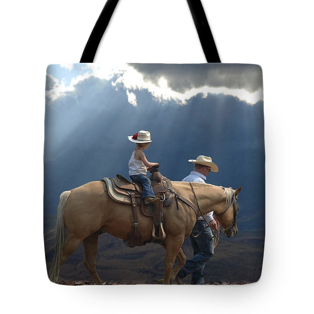 Little Cowgirl Tote Bag featuring the photograph Daddy's Girl by Elizabeth Waitinas