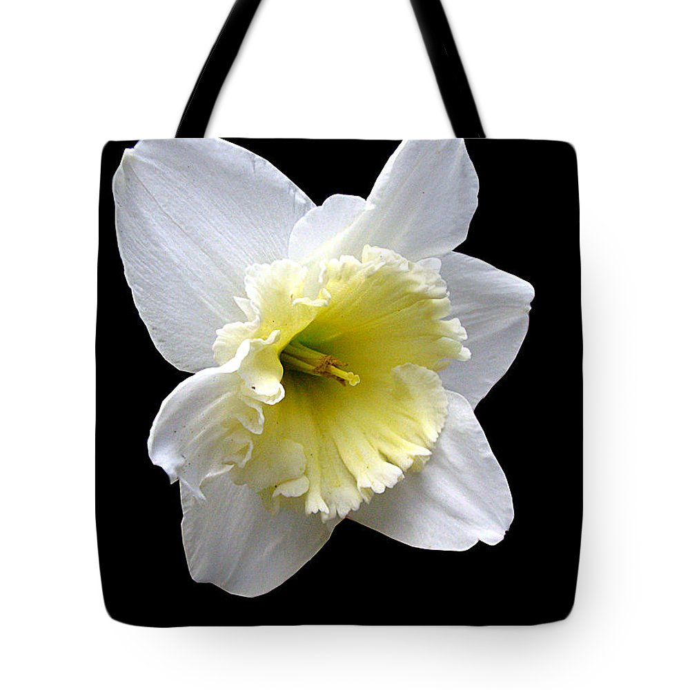 Daffodil Tote Bag featuring the photograph Daffodil On Black by J M Farris Photography