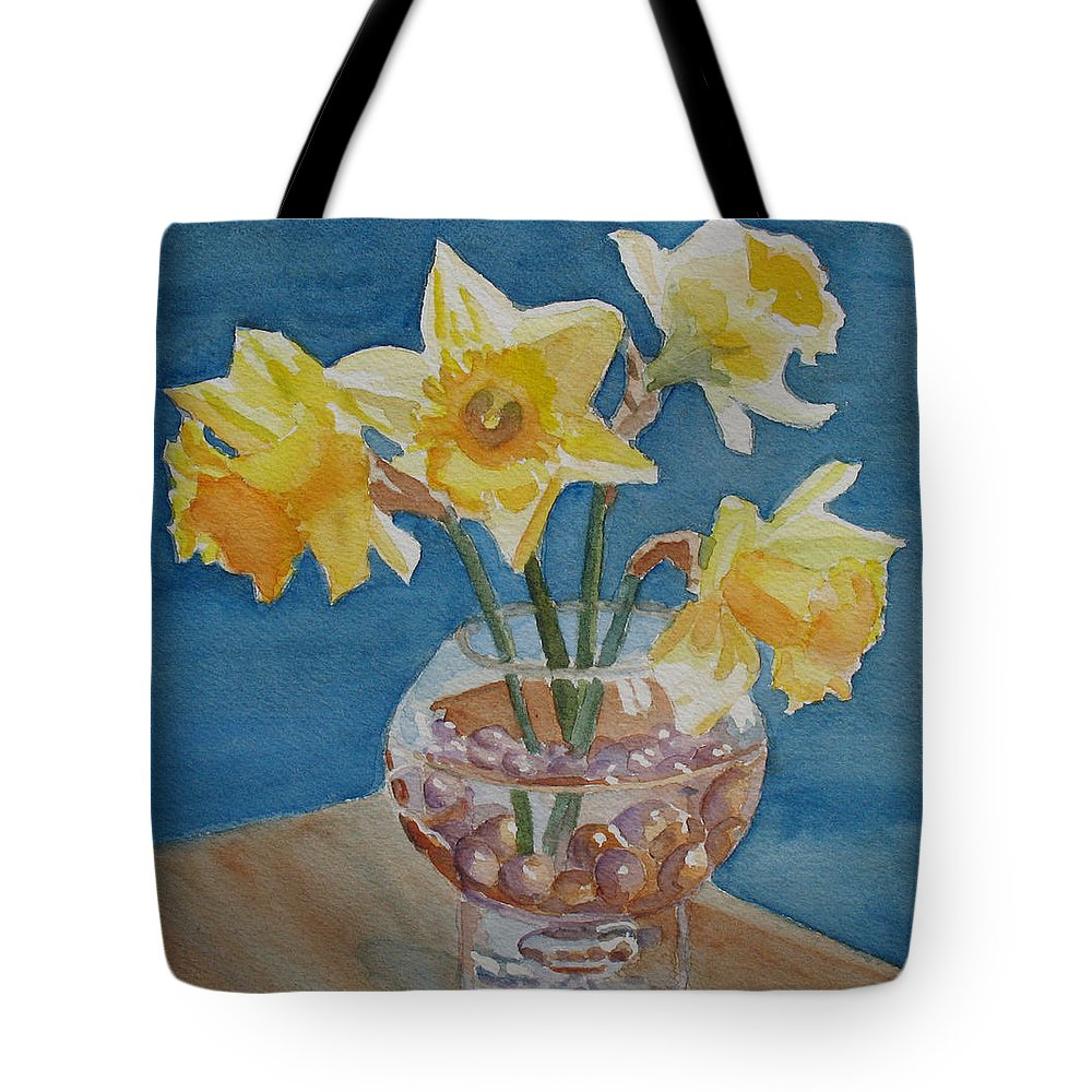 Daffodils Tote Bag featuring the painting Daffodils And Marbles by Jenny Armitage