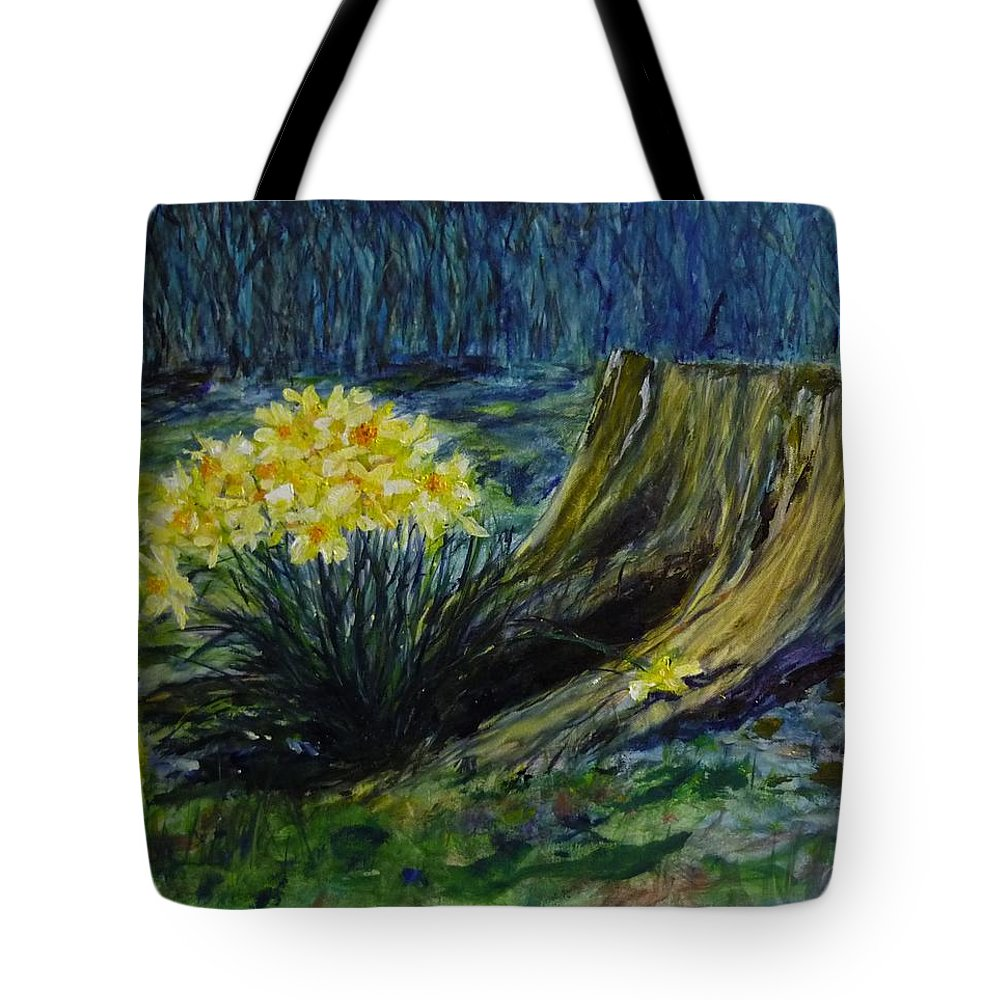Spring Tote Bag featuring the painting Daffodils And Tree Stump by Lizzy Forrester