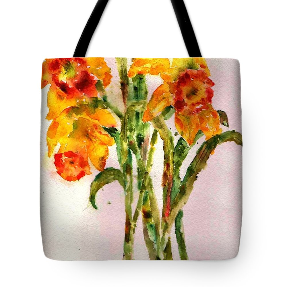 Daffodil Tote Bag featuring the painting Daffodils by Anne Duke