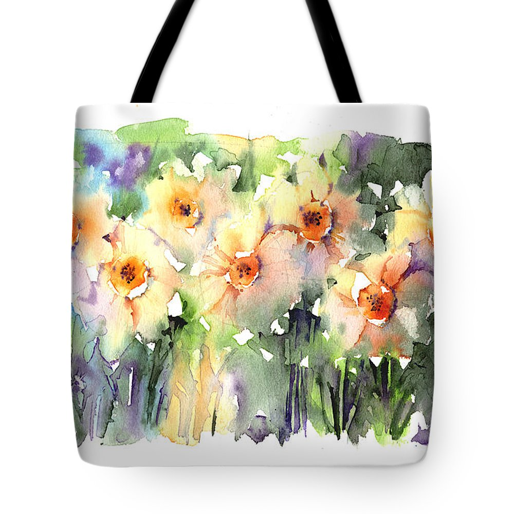 Daffodil Tote Bag featuring the painting Daffodil's Dancing by Andrew Geeson