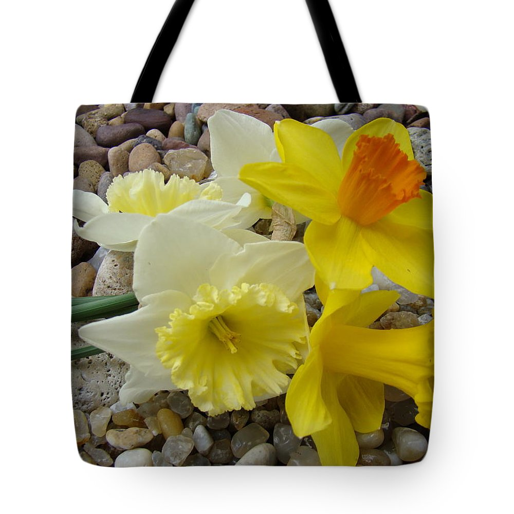 �daffodils Artwork� Tote Bag featuring the photograph Daffodils Flower Artwork 29 Daffodil Flowers Agate Rock Garden Floral Art Prints by Baslee Troutman