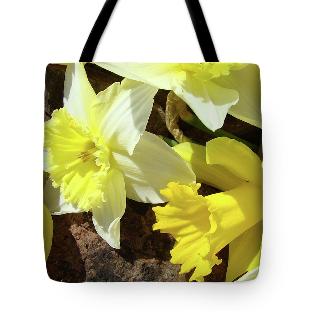 �daffodils Artwork� Tote Bag featuring the photograph Daffodils Flower Bouquet Rustic Rock Art Daffodil Flowers Artwork Spring Floral Art by Baslee Troutman