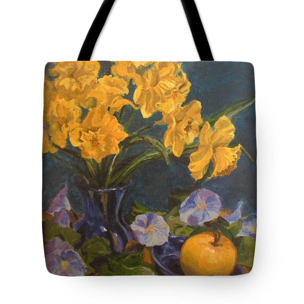 Still Life Tote Bag featuring the painting Daffodils by Karen Ilari