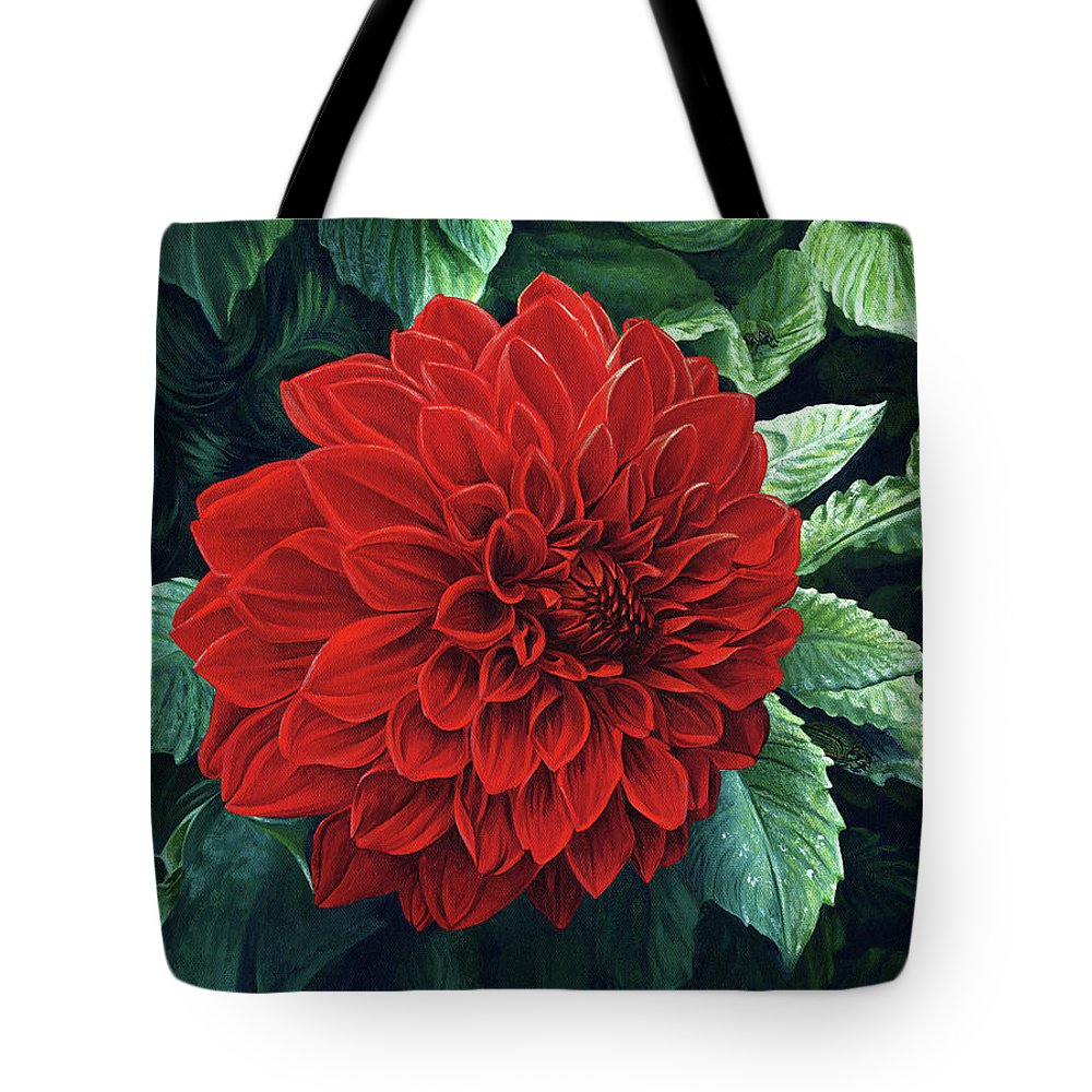 Dahlia Tote Bag featuring the painting Dahlia Dawn by Cara Bevan