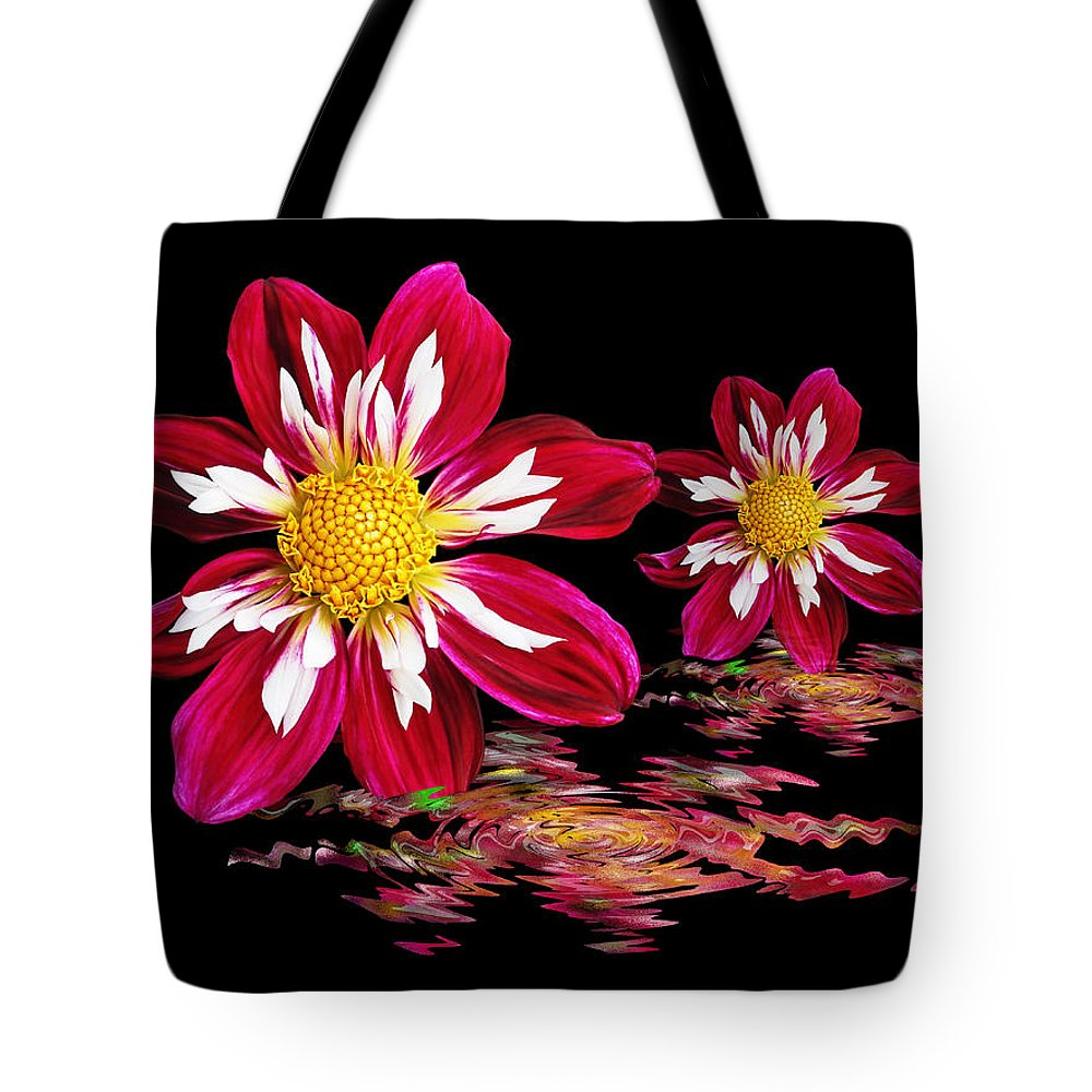 Red Flower Tote Bag featuring the photograph Dahlia Reflections by Gill Billington