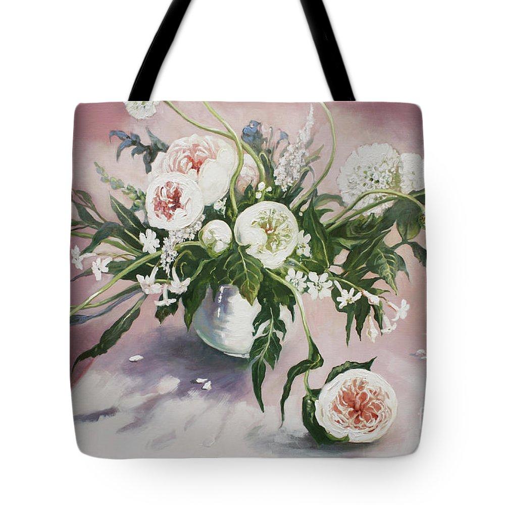 Lin Petershagen Tote Bag featuring the painting Dahlia Vase by Lin Petershagen