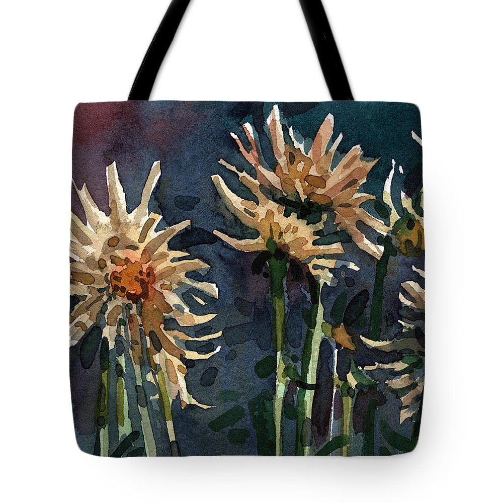 Floral Tote Bag featuring the painting Dahlias by Donald Maier