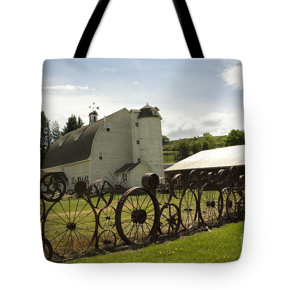 Historic Barn Tote Bag featuring the photograph Dahmen Barn by Louise Magno