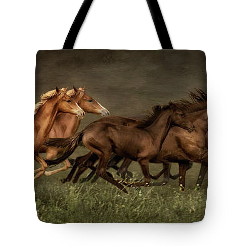 Horses Tote Bag featuring the digital art Daily Double by Priscilla Burgers