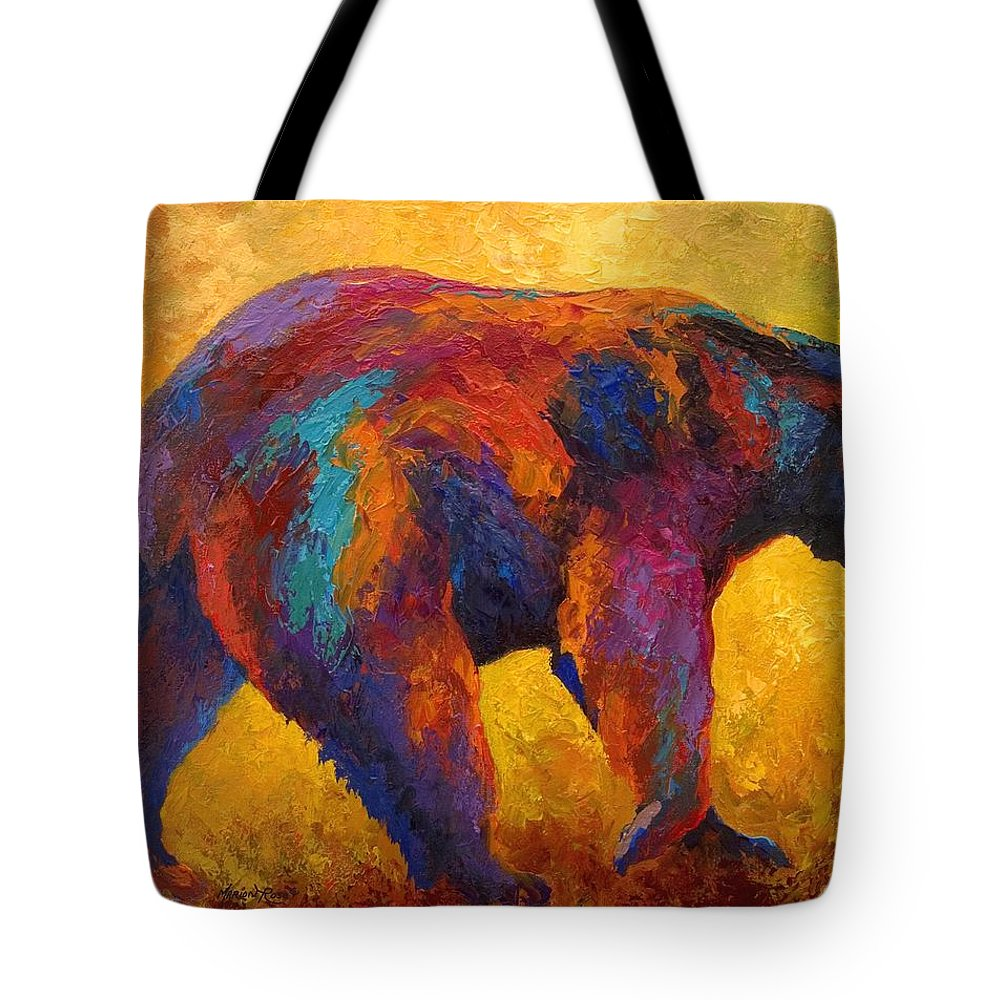 Bear Tote Bag featuring the painting Daily Rounds - Black Bear by Marion Rose