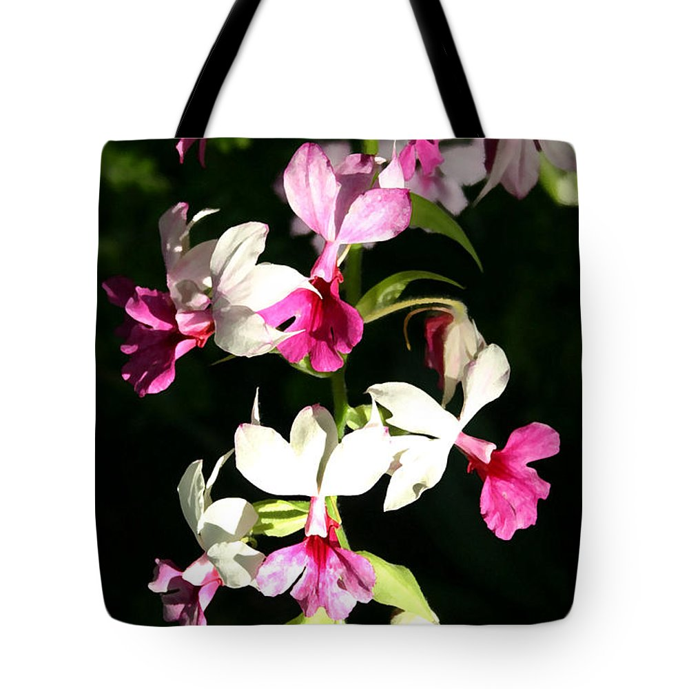 Orchid Tote Bag featuring the photograph Dainty Orchids by Mary Haber