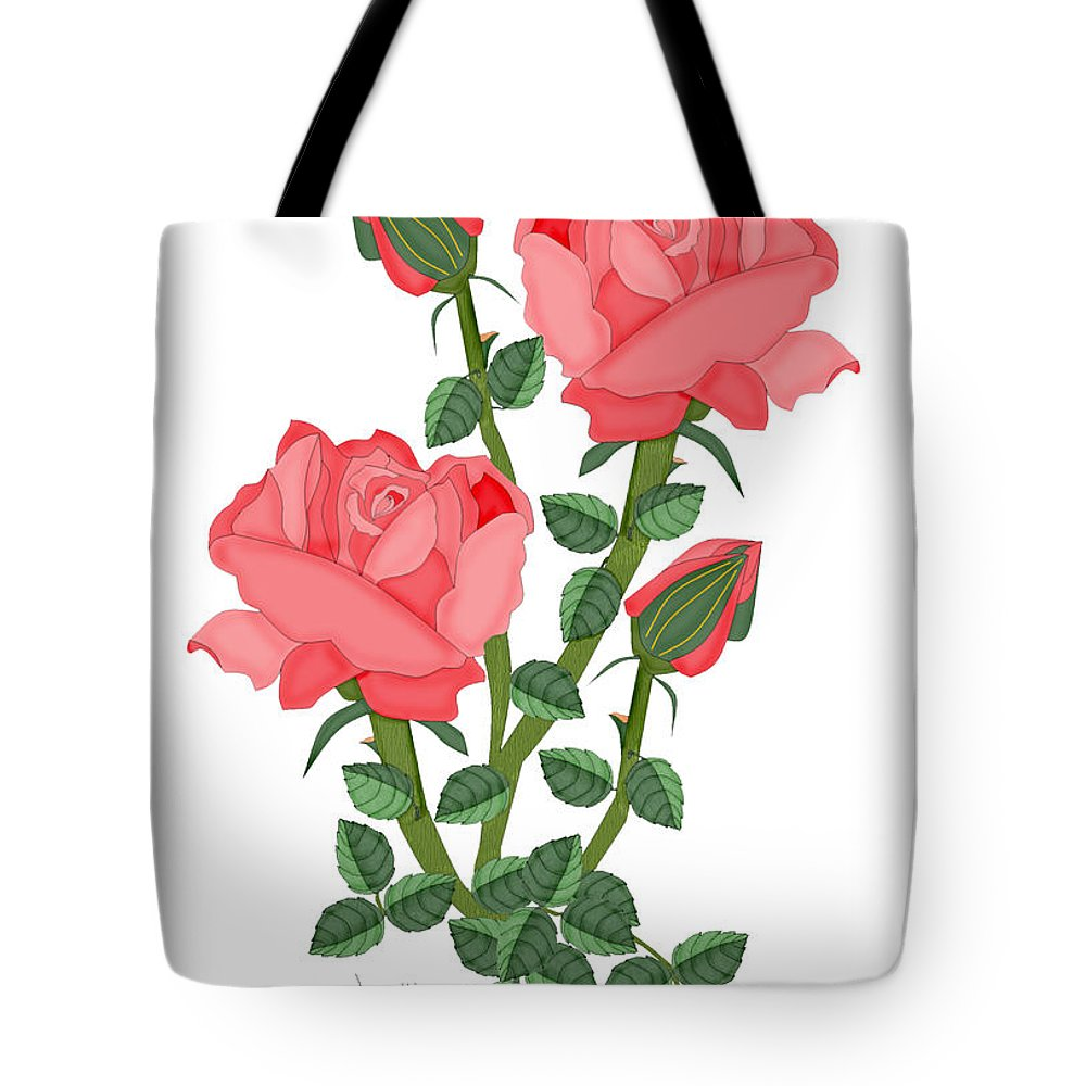 Pink Roses Tote Bag featuring the painting Daiquiri Roses In January 2010 by Anne Norskog