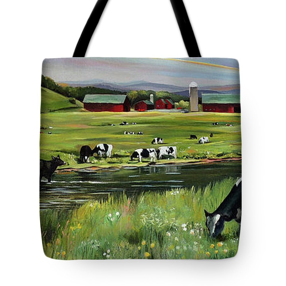 Landscape Tote Bag featuring the painting Dairy Farm Dream by Nancy Griswold