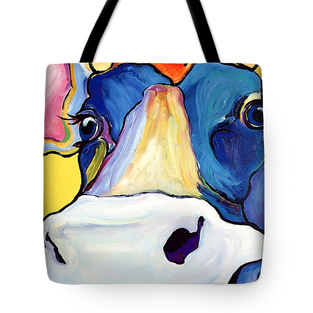 Cow Print Tote Bag featuring the painting Dairy Queen I  by Pat Saunders-White