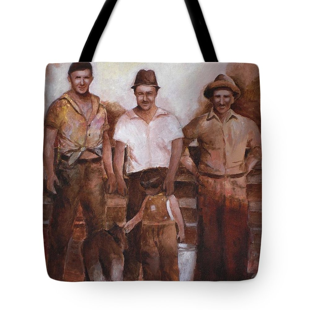 Farm Tote Bag featuring the painting Dairymen by Jun Jamosmos