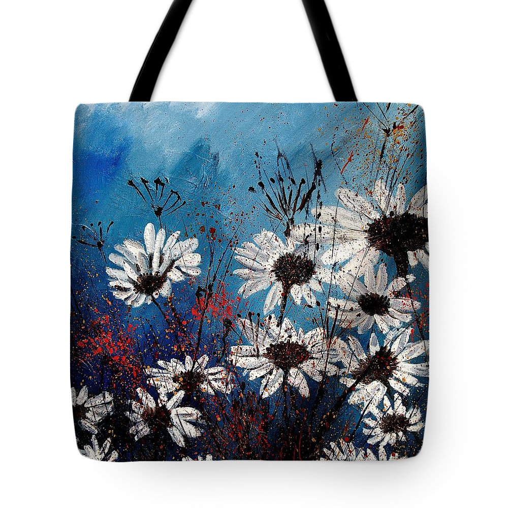 Flowers Tote Bag featuring the painting Daisies 59060 by Pol Ledent