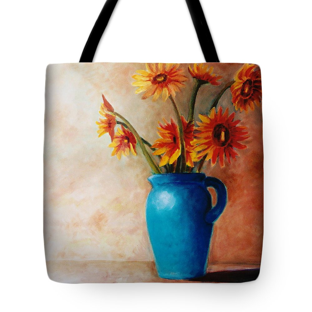 Daisies Tote Bag featuring the painting Daisies And Blue by Jun Jamosmos