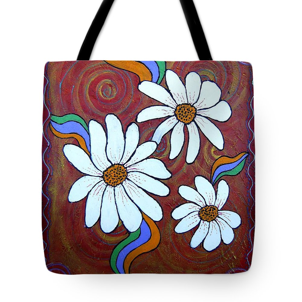 Tote Bag featuring the painting Daisies Gone Wild by Tami Booher