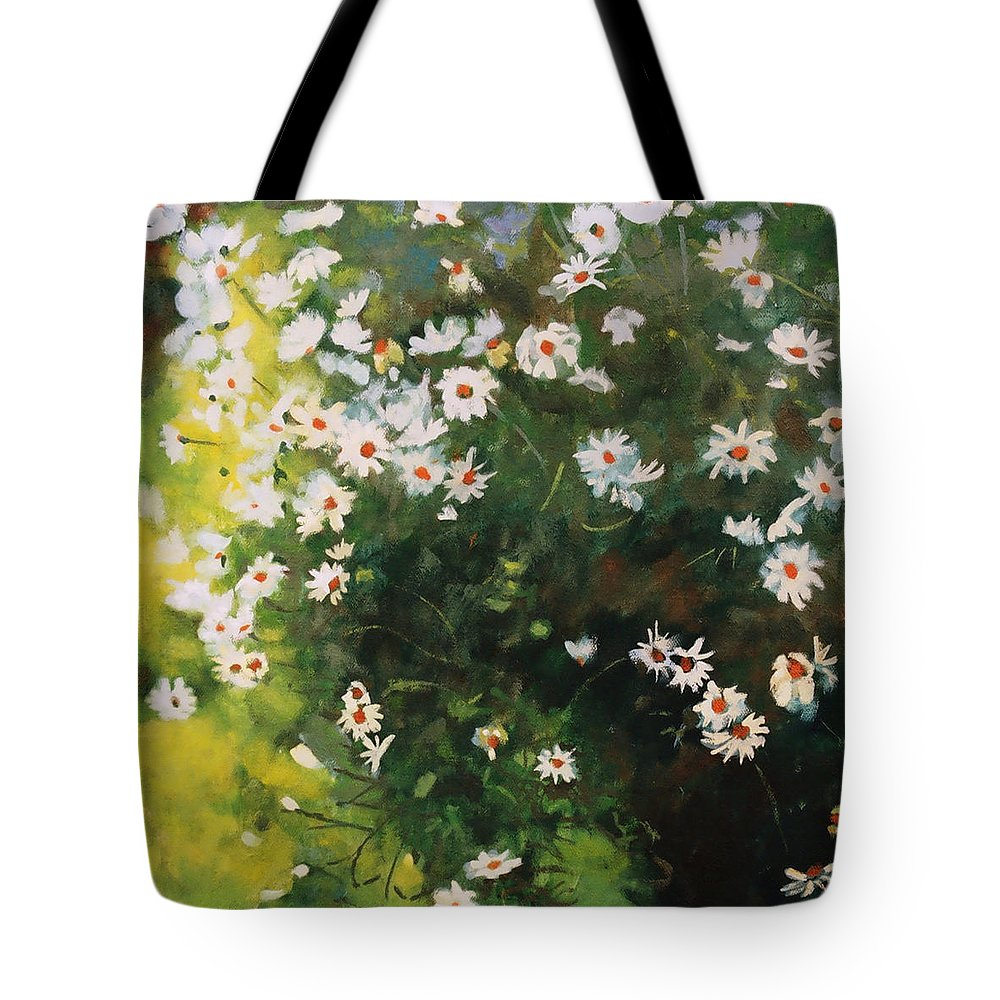 Daisies Tote Bag featuring the painting Daisies by Iliyan Bozhanov