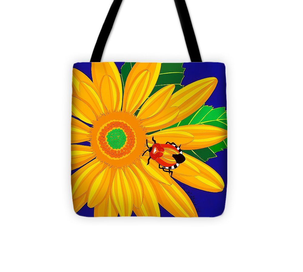 Nature Tote Bag featuring the drawing Daisy And Shieldbug by Lucyna A M Green
