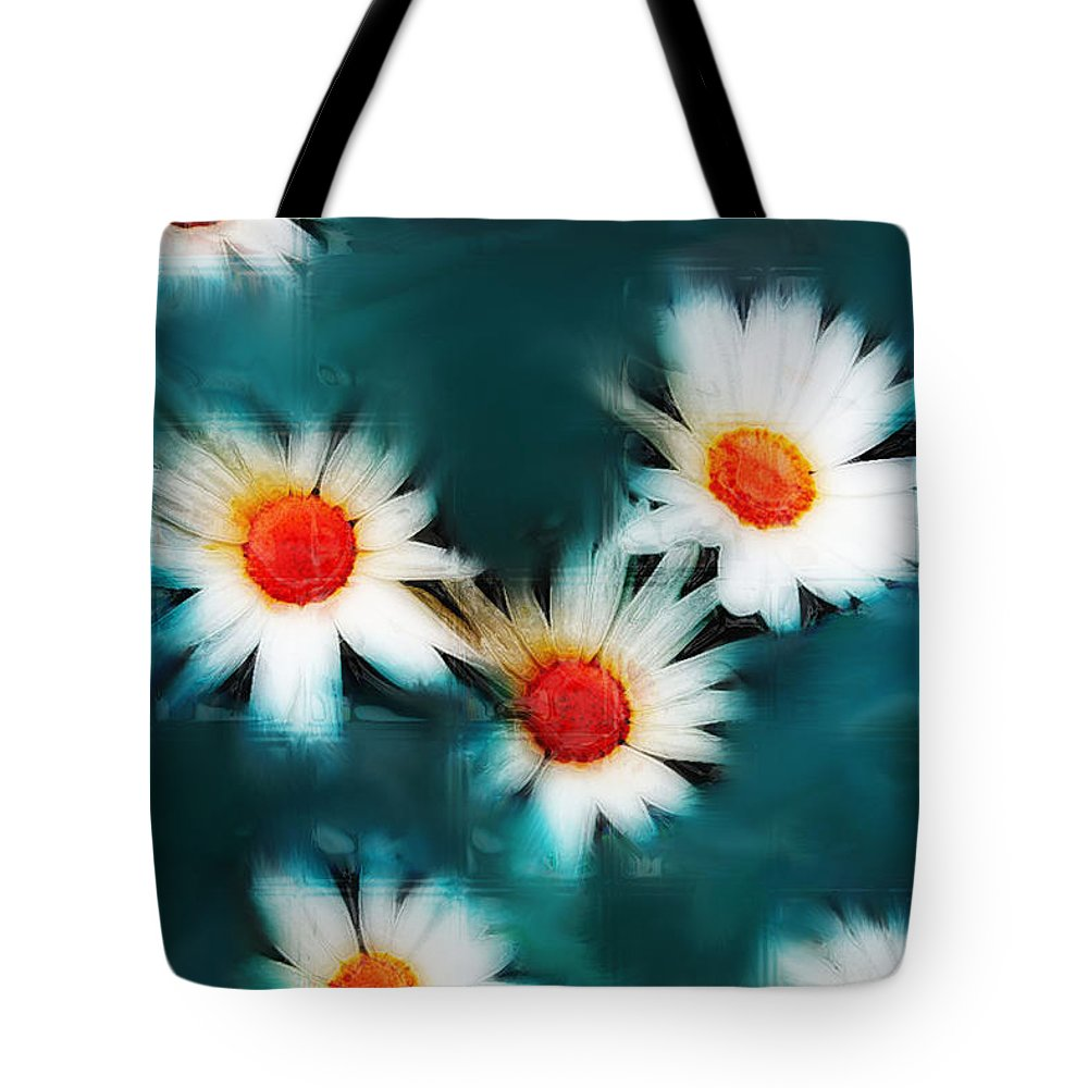 Flowers Tote Bag featuring the photograph Daisy Blue by Linda Sannuti