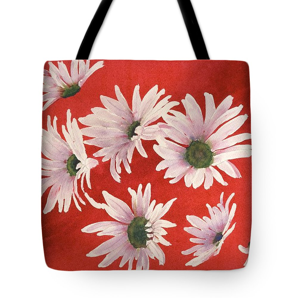 Flowers Tote Bag featuring the painting Daisy Chain by Ruth Kamenev