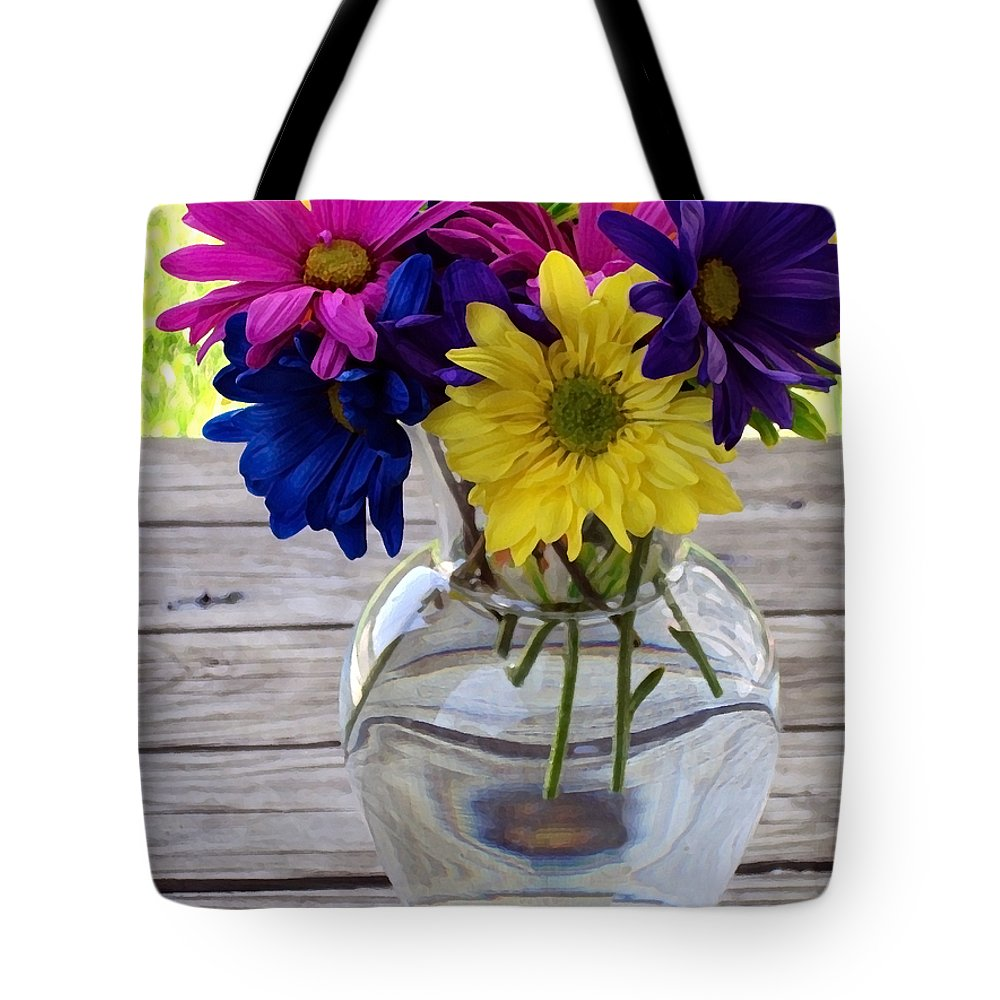 Daisy Crazy Tote Bag featuring the photograph Daisy Crazy by Angelina Tamez