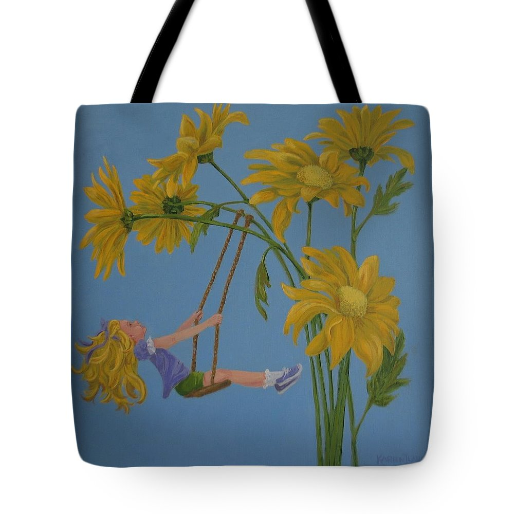 Swinging Tote Bag featuring the painting Daisy Days by Karen Ilari