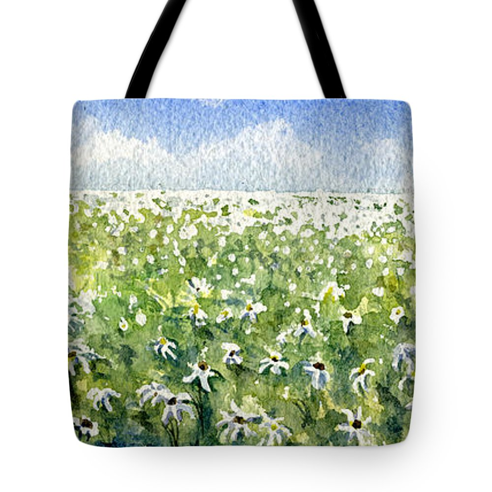 Nature Tote Bag featuring the painting Daisy Field by Mary Tuomi