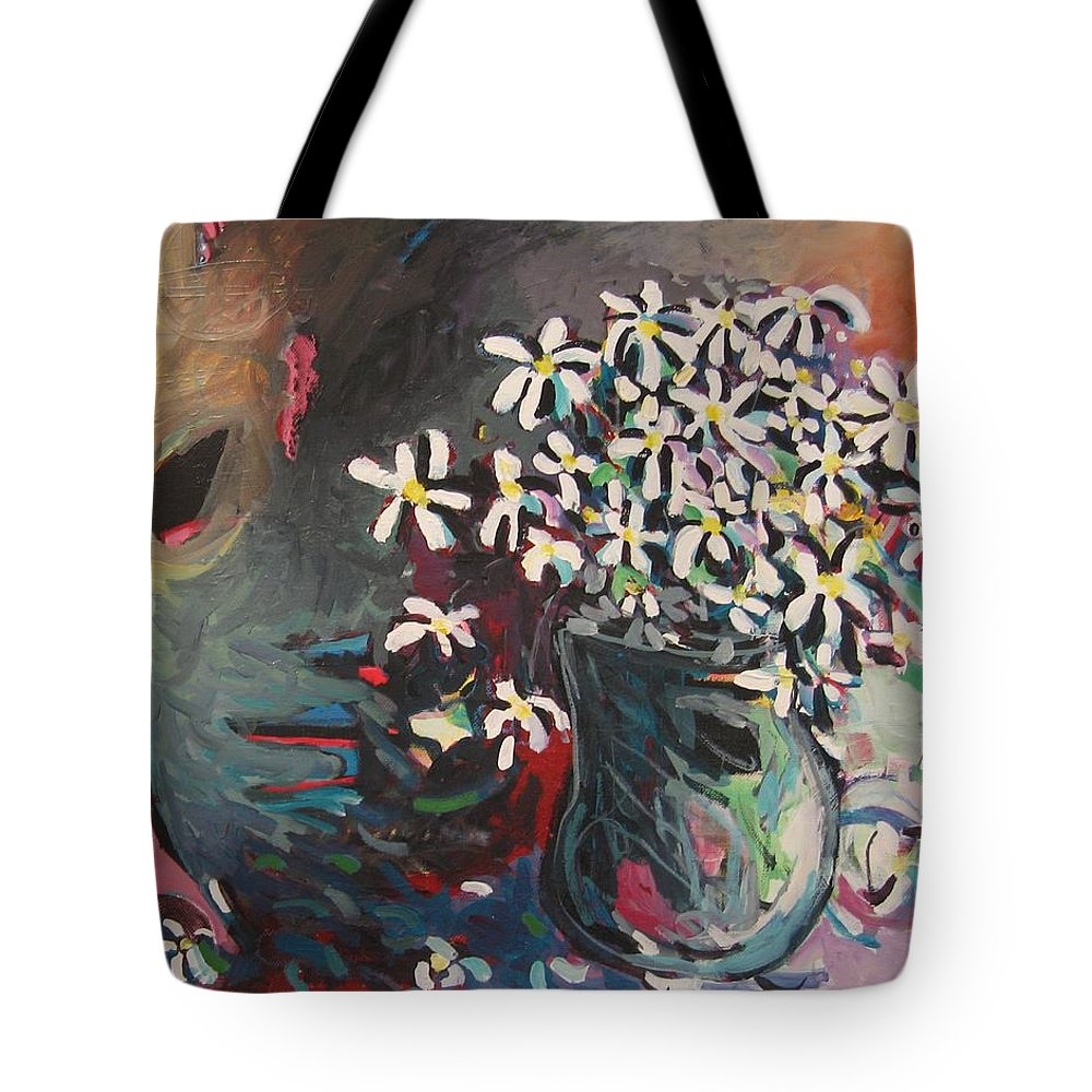 Daisy Paintings Tote Bag featuring the painting Daisy In Vase by Seon-Jeong Kim