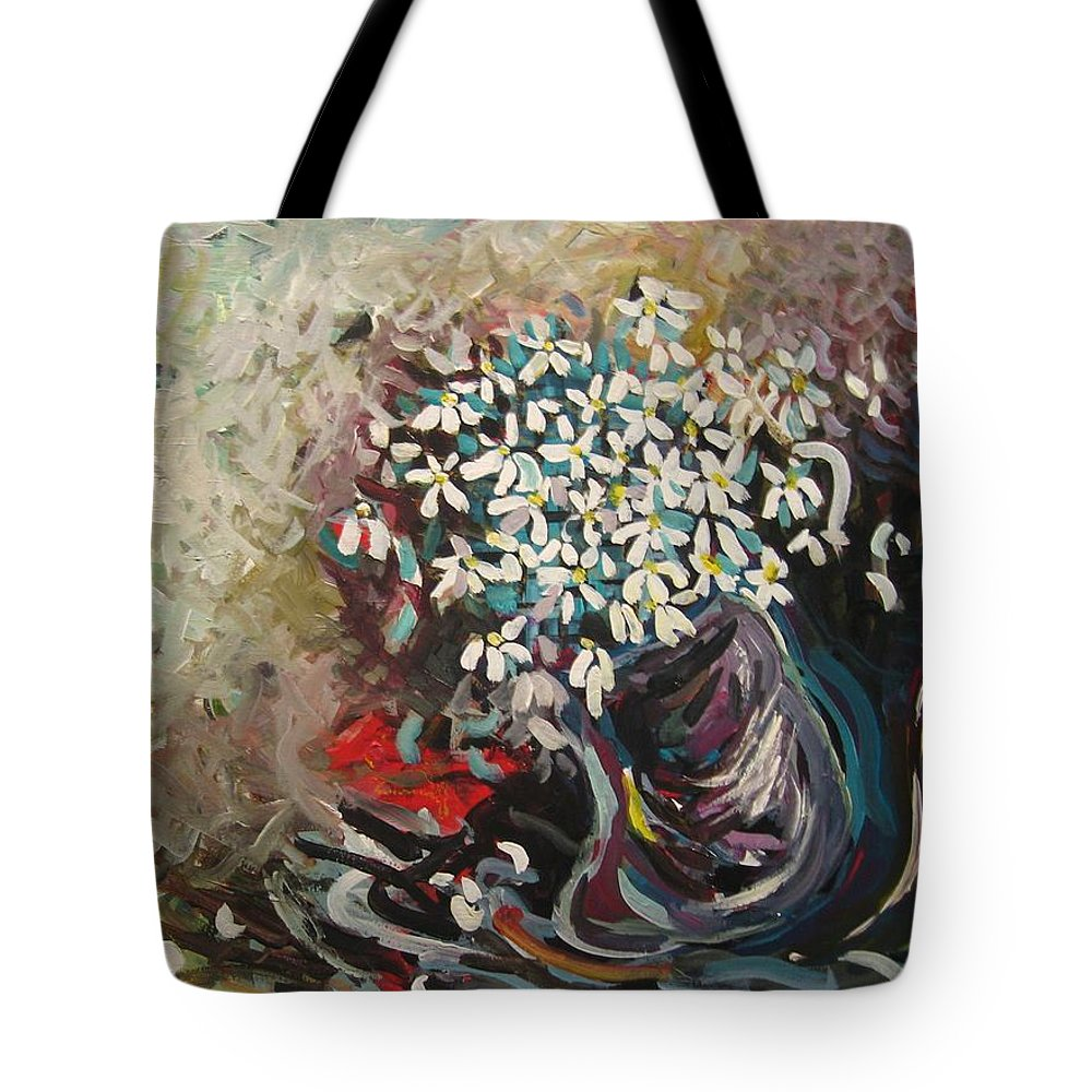 Daisy Paintings Tote Bag featuring the painting Daisy In Vase3 by Seon-Jeong Kim