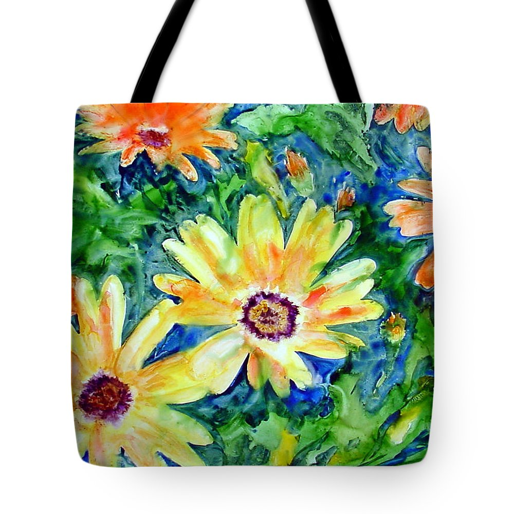 Flower Tote Bag featuring the painting Daisy May by Marsha Elliott
