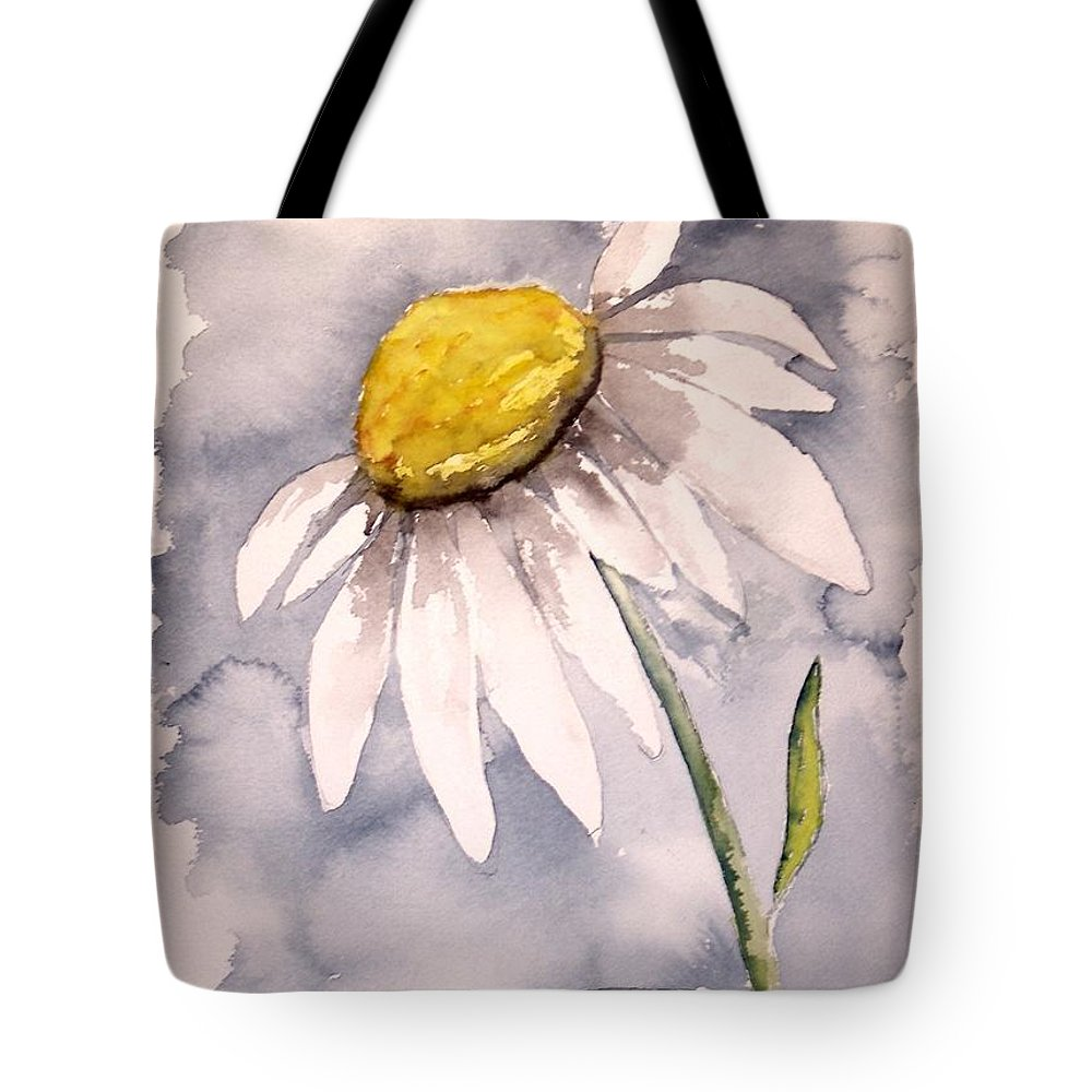 Daisy Tote Bag featuring the painting Daisy Modern poster print fine art by Derek Mccrea