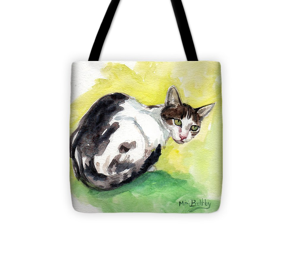 This Lovely Cat Watches Tote Bag featuring the painting Daisy Or Little Singer by Mimi Boothby