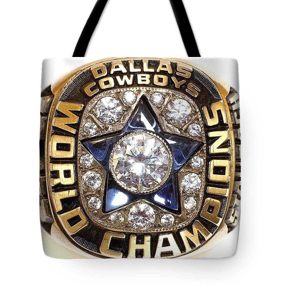 Dallas Cowboys Tote Bag featuring the digital art Dallas Cowboys First Super Bowl Ring by Paul Van Scott