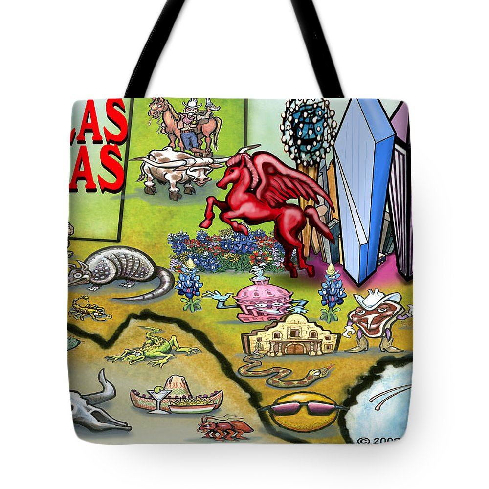 Dallas Tote Bag featuring the digital art Dallas Texas Cartoon Map by Kevin Middleton