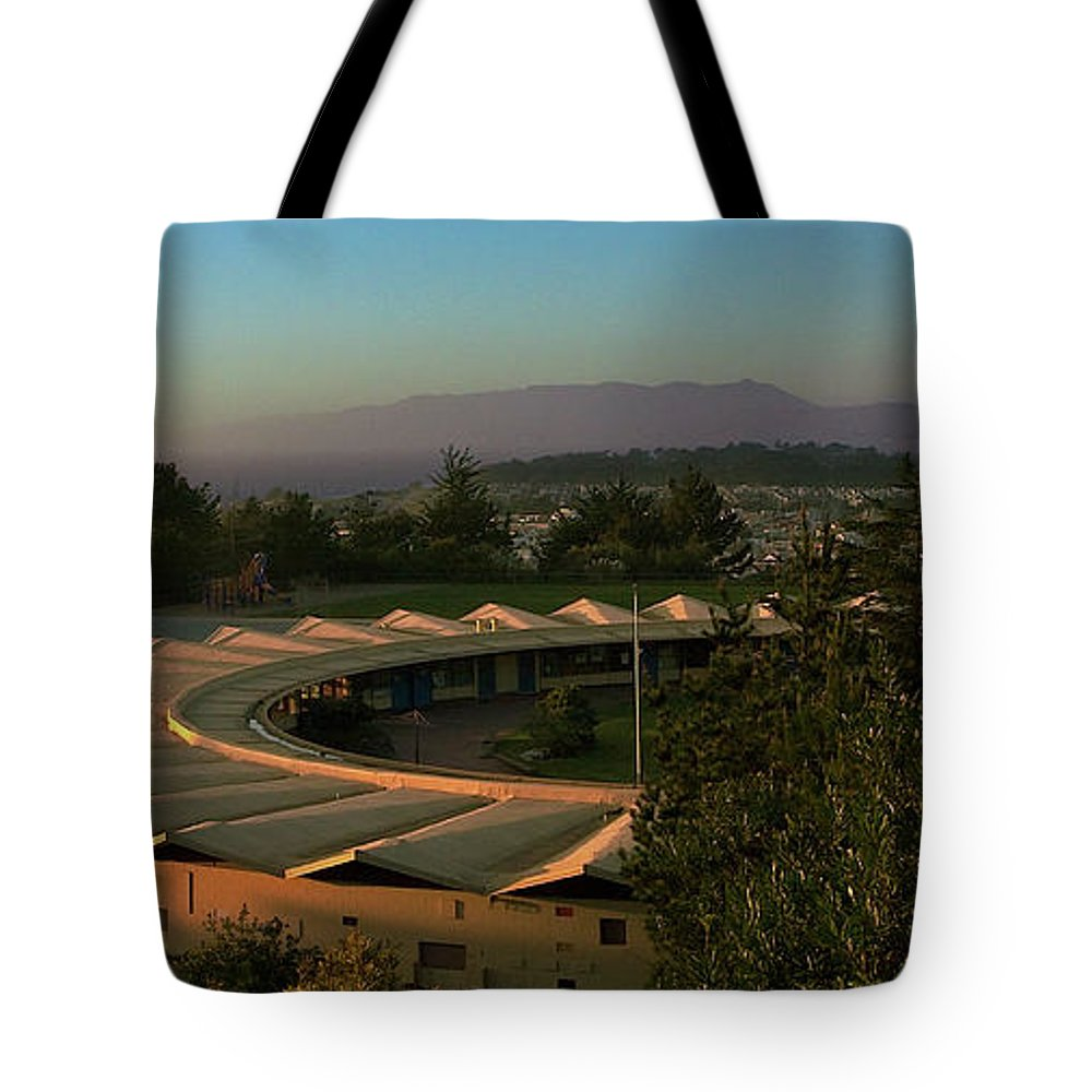 Circular Tote Bag featuring the photograph Daly City School by Grant Groberg