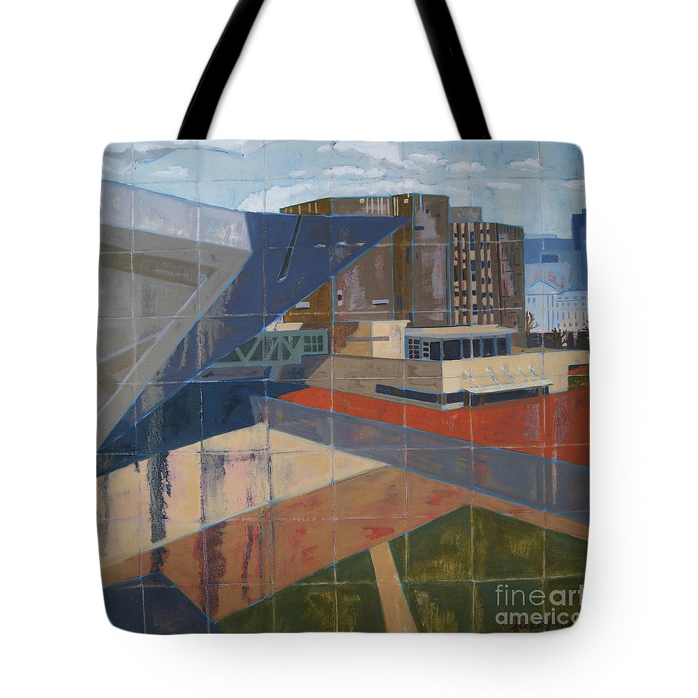 Cityscape Tote Bag featuring the painting Dam Museum by Erin Fickert-Rowland