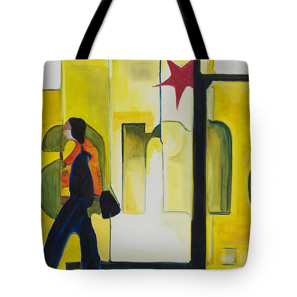 Abstract Tote Bag featuring the painting Dam Shopper by Patricia Arroyo