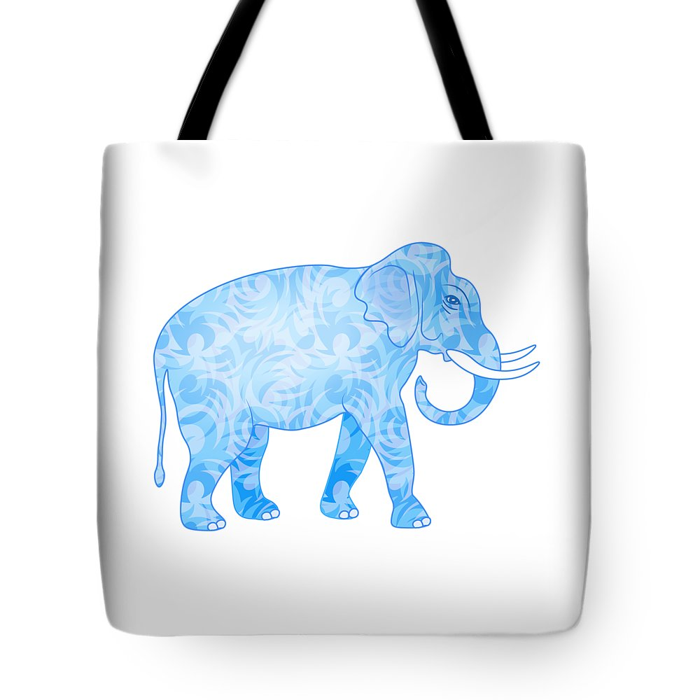 Elephant Tote Bag featuring the digital art Damask Pattern Elephant by Antique Images