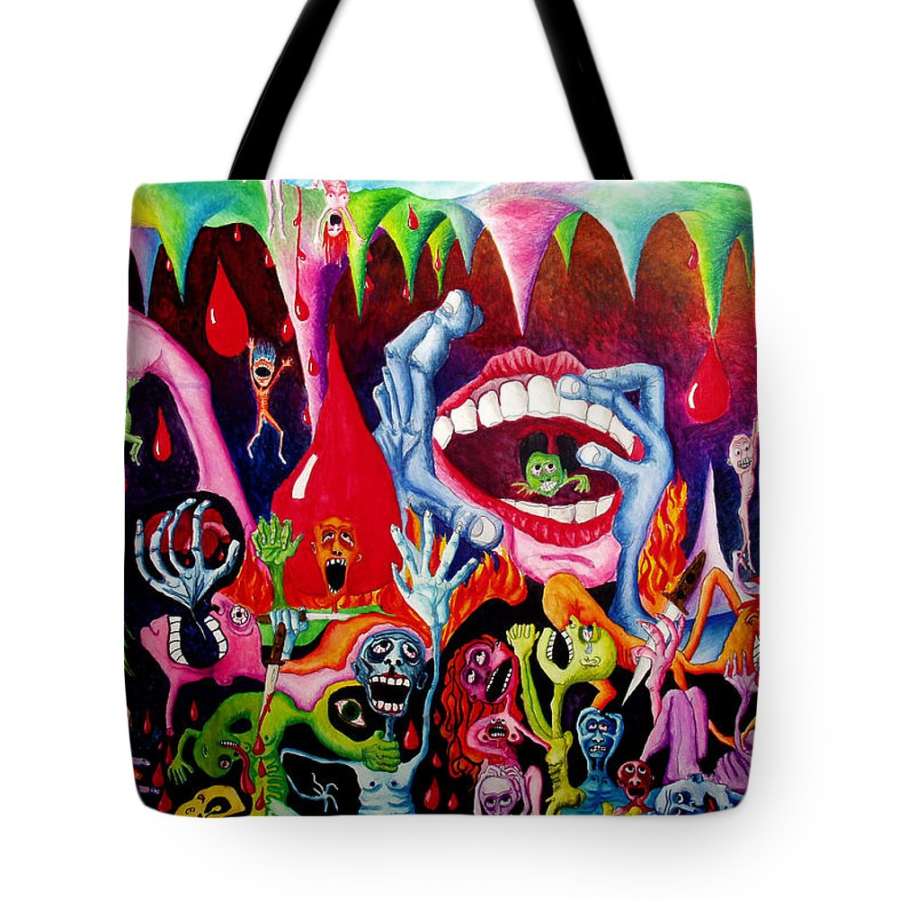Hell Tote Bag featuring the painting Damnation Of The Evil by Nancy Mueller